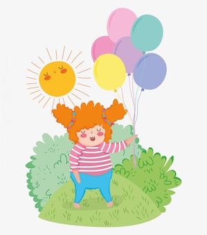 風船と太陽と髪型のゲームを持つ女の子