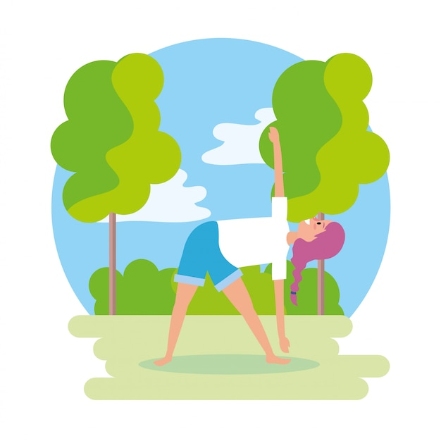 Поза релаксации женщина с деревьями и кустами
