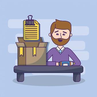 事業所の従業員のワークスペースの漫画