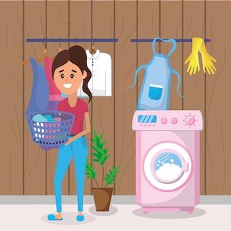 洗濯中の女性