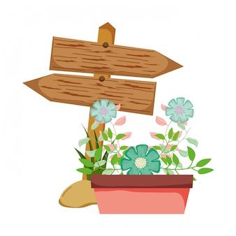 Деревянная стрела с комнатным растением