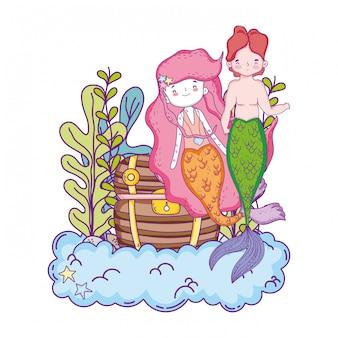 宝箱の海底とカップルの人魚