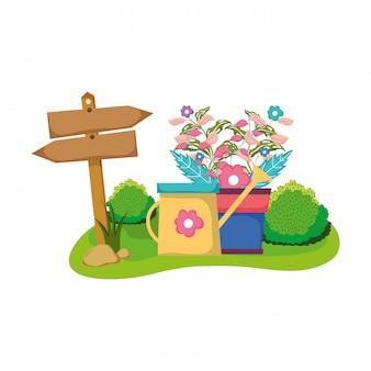 Деревянная стрела с комнатным растением и поливом в поле