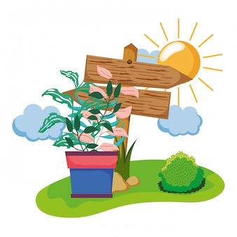 分野で観葉植物と木製の矢印