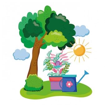Спринклер из сада с комнатным растением в поле