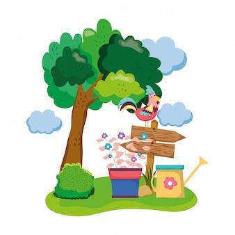 Деревянная стрела с петухом и комнатным растением в саду