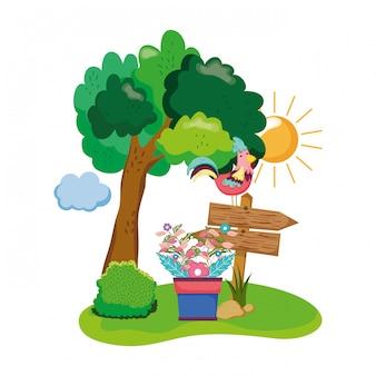 オンドリと庭の観葉植物の木製の矢印