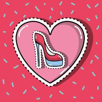心の中のハイヒールの靴ファッションパッチデザインのイラスト