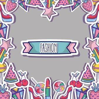 ファッションはトレンディなバックグローンのデザインをパッチします