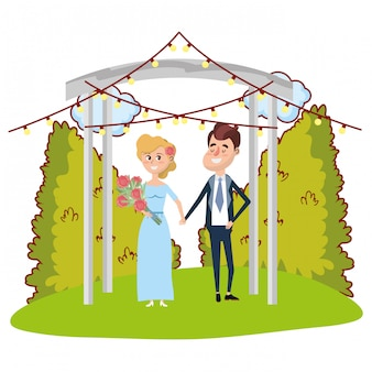 結婚式の肖像画の漫画