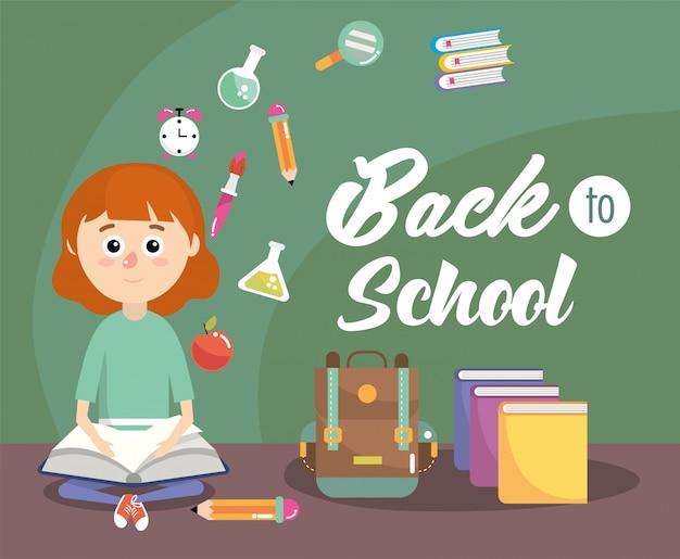 女子生徒の教育本とバックパック