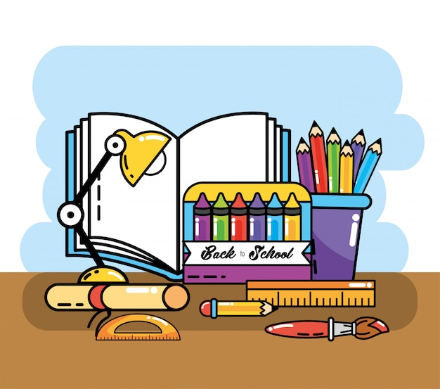クレヨンと本の供給と色鉛筆