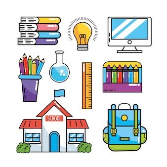 勉強する学校教育用品を設定する