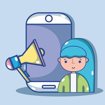 Женщина с технологией социальных сетей для связи