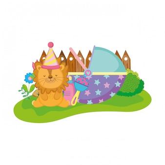 パーティーハットとかわいいと小さなライオン