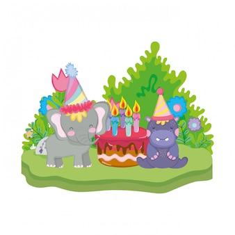 小さな象とカバのパーティーハット