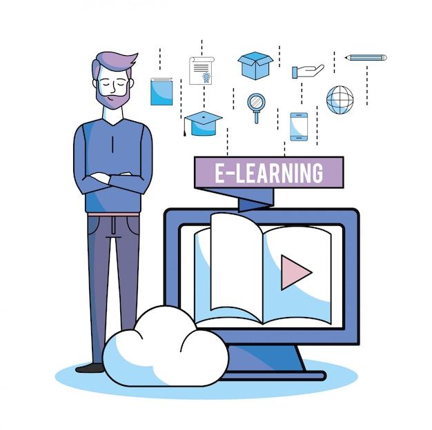 勉強するコンピューター本のビデオを持つ男