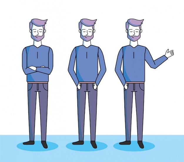 髪型とカジュアルな服装でハンサムな男性を設定します。