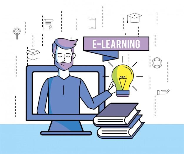 教育本とコンピューターと電球のアイデアを持つ男