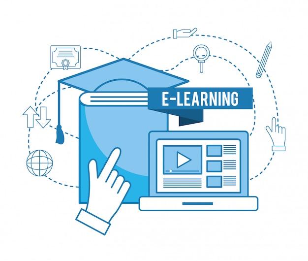 ノートパソコンのウェブサイトのビデオと卒業の帽子が付いている本