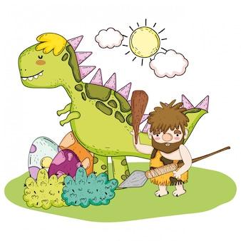 Первобытный человек, охотящийся на тиранозавра и яйца динозавров