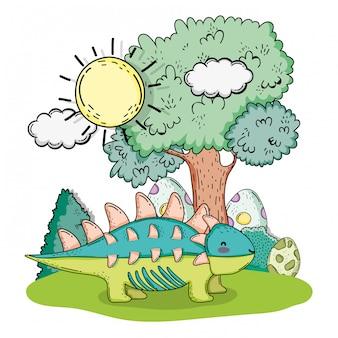 Милый анкилозавр доисторическая живая природа с яйцами