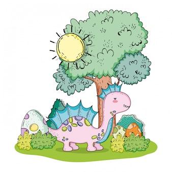 Симпатичный коритозавр доисторической дикой природы с яйцами