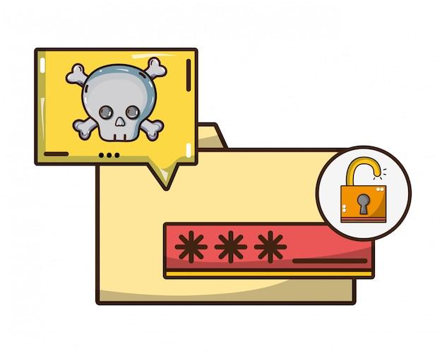 サイバーセキュリティの脅威の漫画