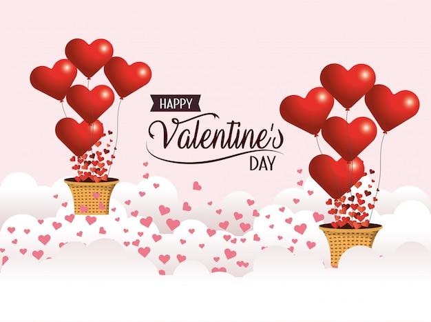 バレンタインの日にバスケットとハートの風船