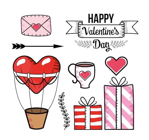 Установите любовную открытку с воздушным шариком в виде сердца и подарками