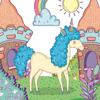 家や植物の葉を持つユニコーン動物