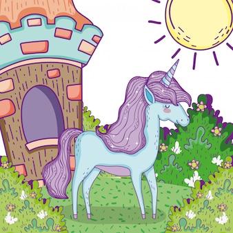 家と茂みの植物とかわいいユニコーン動物