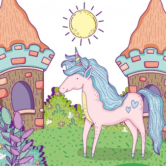 家や茂みの植物とユニコーン動物