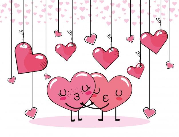 心のカップルがバレンタインデーのお祝いにキス