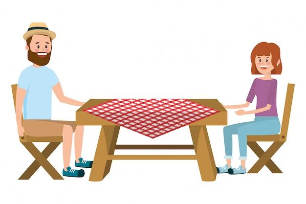 カップルとピクニック