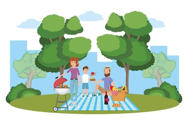ピクニックに家族