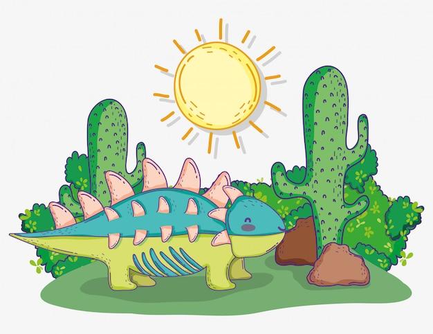 Симпатичные анкилозавры дикие животные с солнцем и кактусом