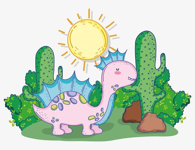 Симпатичный коритозавр с солнцем и кактусом