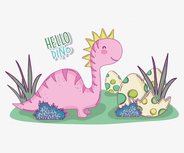 Милый салазавр с яйцом динозавра в кустах