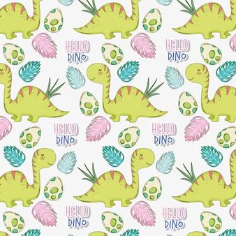 Диплодок с яйцами динозавров и листьями