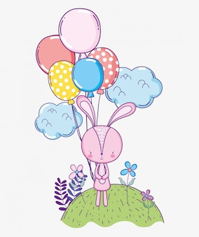 風船で幸せなウサギの誕生日のお祝い