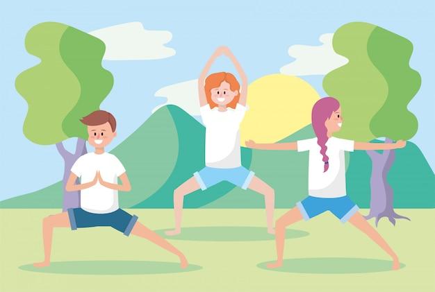 男性と女性のヨガの練習のポーズをトレーニング