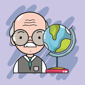 グローバルマップデスクを持つ古い教師