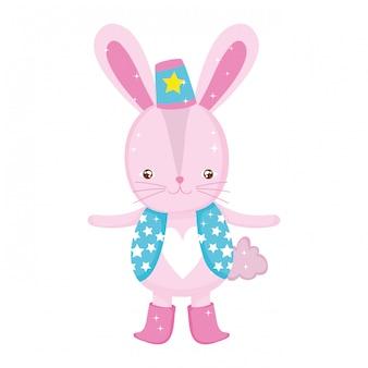 帽子とかわいいウサギのサーカス