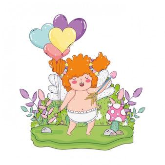 Милая купидонная пухлая девушка с воздушными шарами в форме сердца гелия