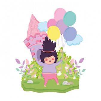 Маленькая пухлая девочка в пейзаже