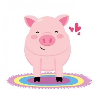 カラフルなカーペットと豚