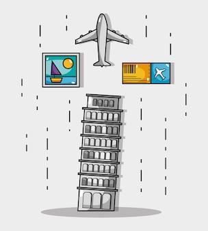 Пизанская башня с изображением и билетом