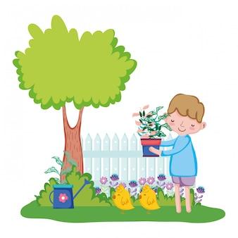 フェンスとひよこの観葉植物を持ち上げる少年