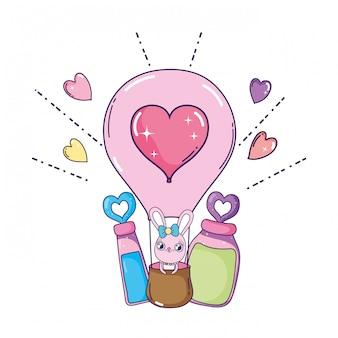 気球熱いバレンタインデーを飛んでいるかわいいウサギの女の子